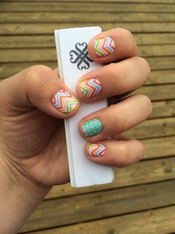 Jamberry candy chevron and teal polka