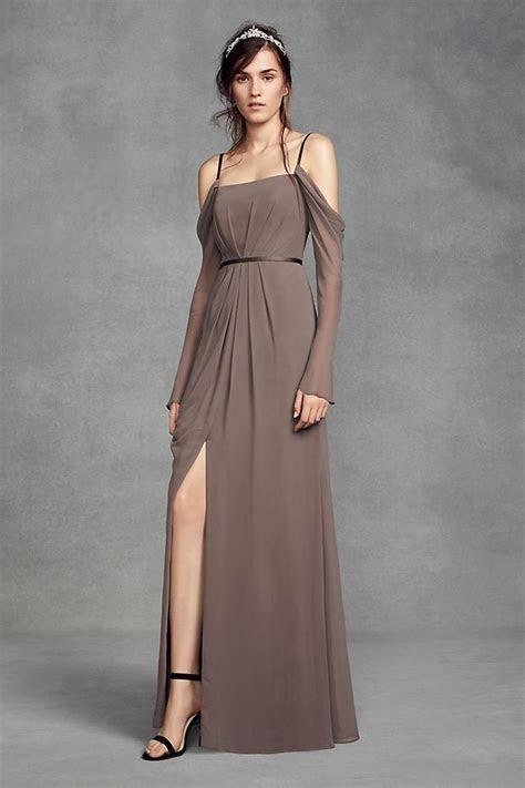 Long Sleeve Cold Shoulder Chiffon Bridesmaid Dress by
