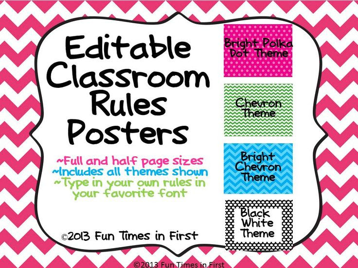 Classroom Rules Posters {Editable~4 themes} | Classroom Rules ...