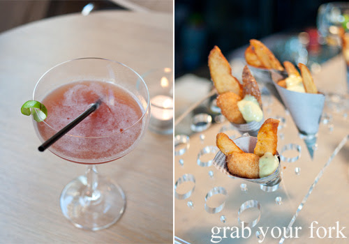 Copenhagen cocktail with fish and chips at Restaurant Dansk