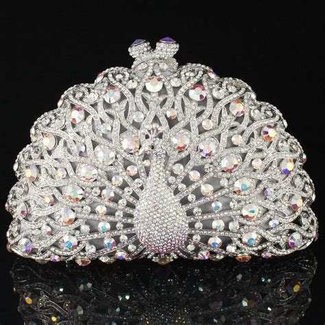 Fashion Crystals Clear Animal Peacock Clutch Evening Purse