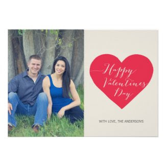 Red Heart Photo Valentines Day Flat Card