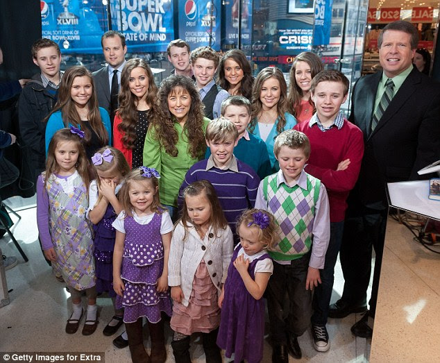 Josh Duggar (back row, second from left) rose to fame on TLC series 19 Kids and Counting, which was cancelled after it was revealed he had molested four of his younger sisters and a babysitter while a teenager