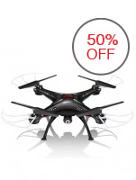 Syma X5SW Explorers 2 2.4GHz 4 Ch WiFi FPV RC Quadcopter with Camera 6 Axis 3D Flip Flight UFO - Black