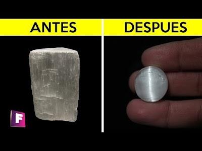 Puliendo Minerales #2 - Selenita - creamos gemas con 3 efectos opticos increibles