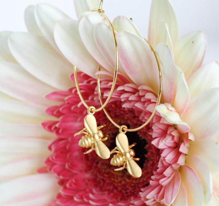 Honey Bee Hoop Earrings - Gold Plated Hoops With Tiny Matte Gold Honey Bee, Bee Earrings, Mothers Day Jewelry