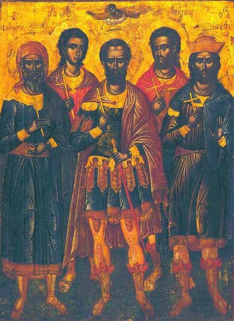 """Αποτέλεσμα εικόνας για Άγιοι Ευστράτιος, Αυξέντιος, Ευγένιος, Μαρδάριος και Ορέστης"""""""