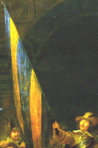 lightened detail of the flag in Rembrandt's Night Watch