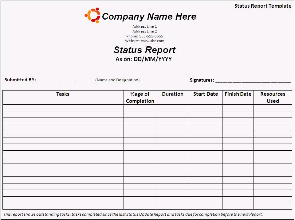 Daily status report template - Found in Catalog