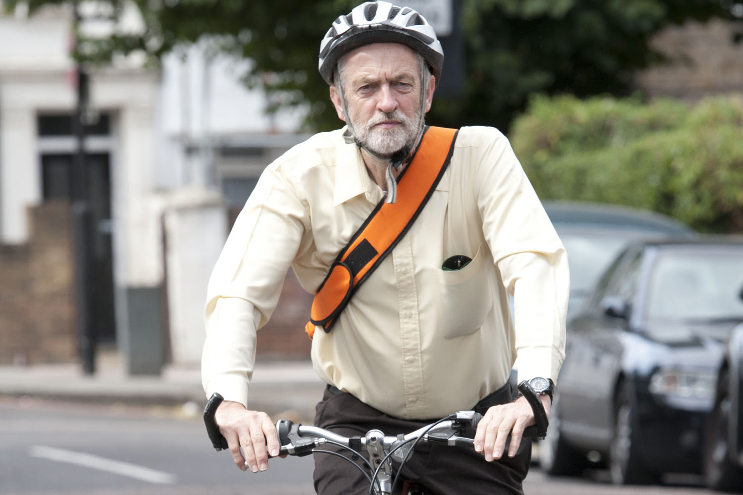 Jeremy Corbyn wears Bike Helmet