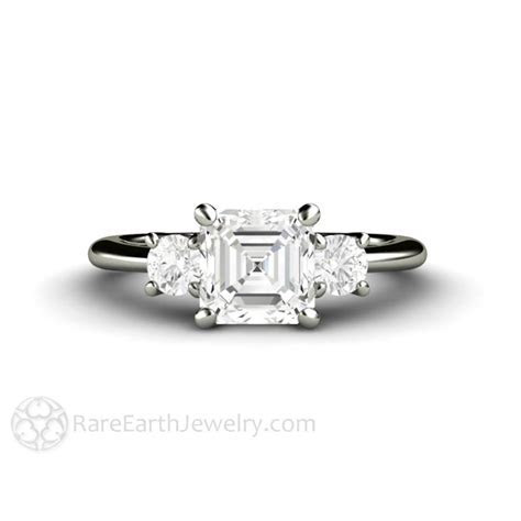 Forever One Moissanite Engagement Ring 3 Stone Asscher Cut