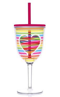 Acrylic Valentine Bright Rainbow Heart Double-Walled 13-oz Wine Glass with Straw