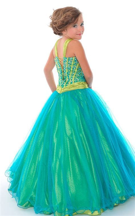 green dresses for 9 year old   Organza Floor length V neck