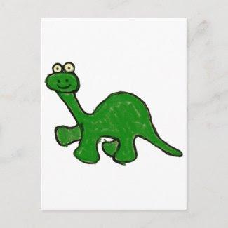 Cartoon Crayon Brontosaurus Collection postcard