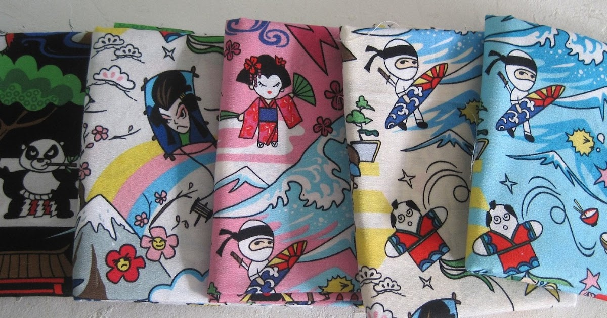 it 39 s all about the fabric super kawaii surfing ninja japanese fabric. Black Bedroom Furniture Sets. Home Design Ideas