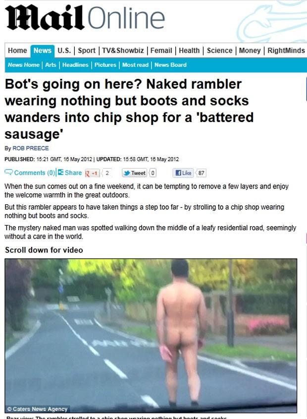 Homem foi flagrado caminhando nu em de Enfield, norte de Londres. (Foto: Reprodução/Daily Mail)