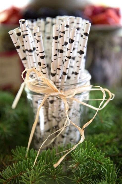 Aspen Tree Print Paper Straws from a Woodland Baby Shower