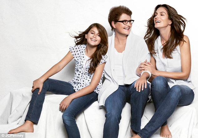 Model generations: Cindy Crawford poses with her mother and her daughter in a Mother's Day campaign for JCPenny