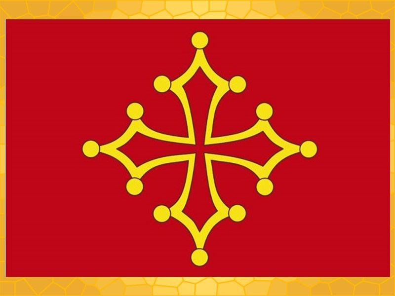 Drapeau Occitan étoile Occitane Jaune Sur Fond Rouge