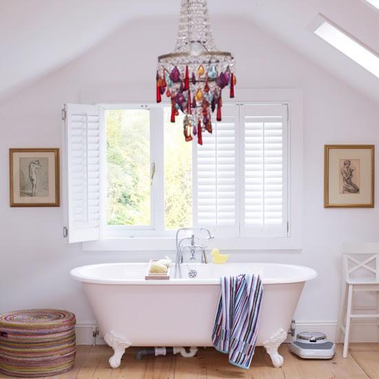 White bathroom with rainbow highlights | Modern bathroom | Bath | Image | Housetohome