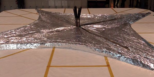 A screenshot showing the LightSail-A spacecraft deploying its solar sails during a day-in-the-life test held at Cal Poly San Luis Obispo...on September 23, 2014.