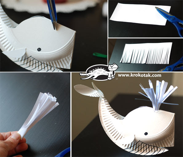 A paper plate whale