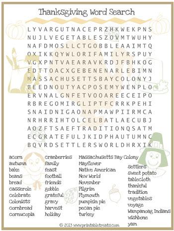 Thanksgiving Word Search for Kids Printable — Printable Treats.com