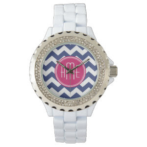 Chevron Pattern with Monogram - Navy Magenta Watches