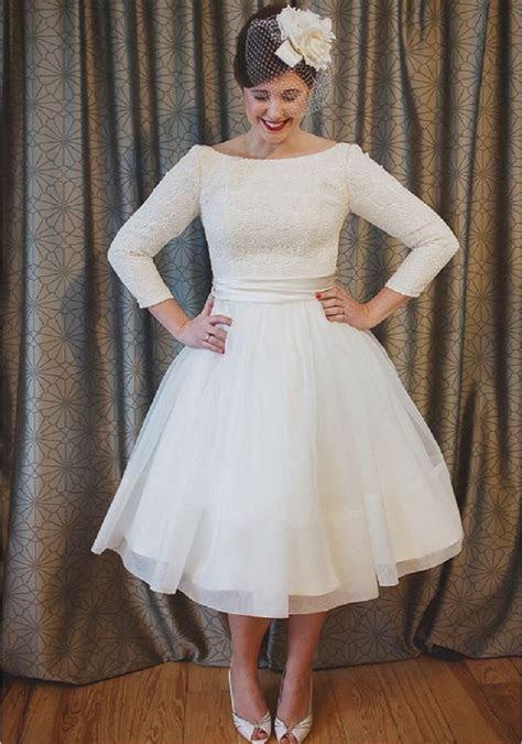 Vintage Lace 1950s Tea Length Wedding Dress 2017 Scoop A