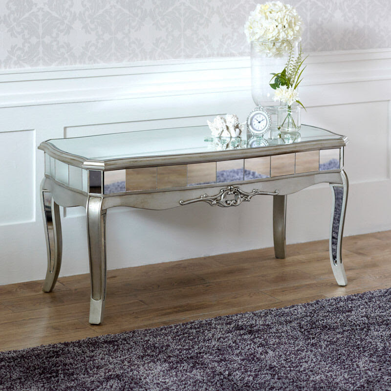 Grey Mirrored Glass Wooden Painted Coffee Side Table ...