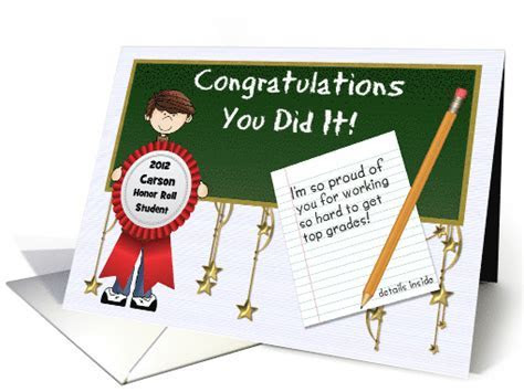 Honor Roll Congratulations Custom Front with Boy card (923981)