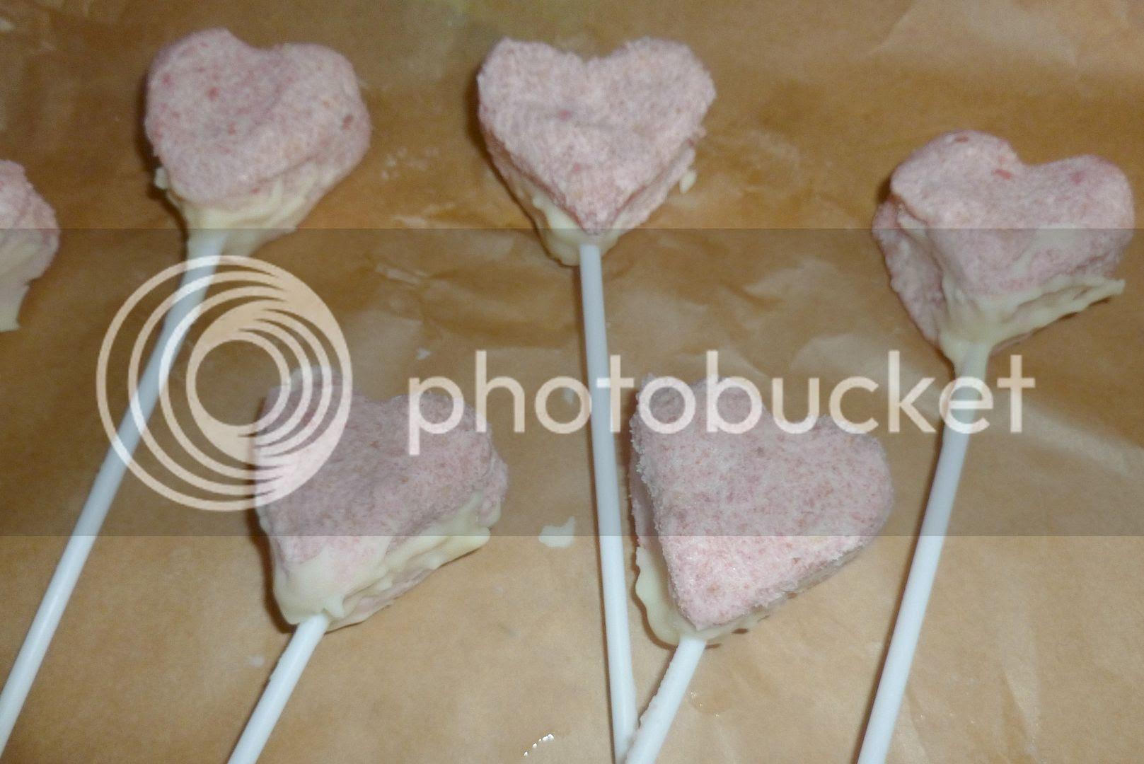 heart shaped cake on a stick