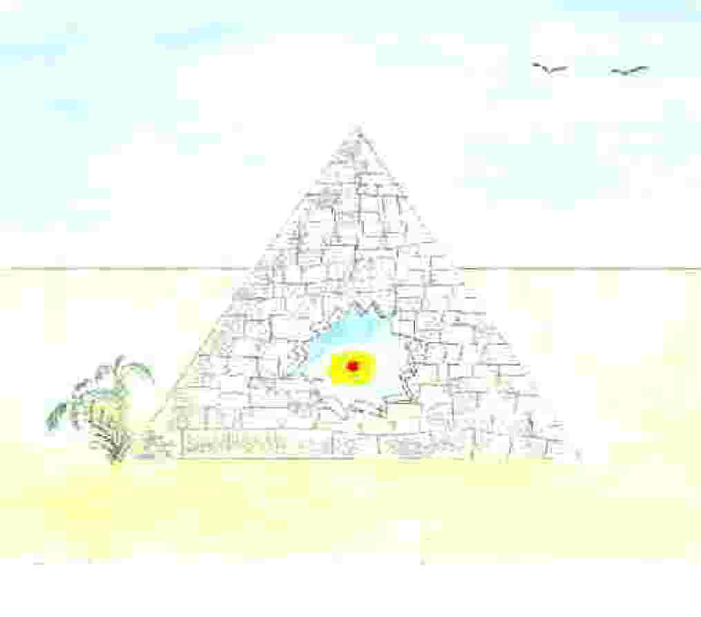 Drawing of a pyramid with a treasure inside.