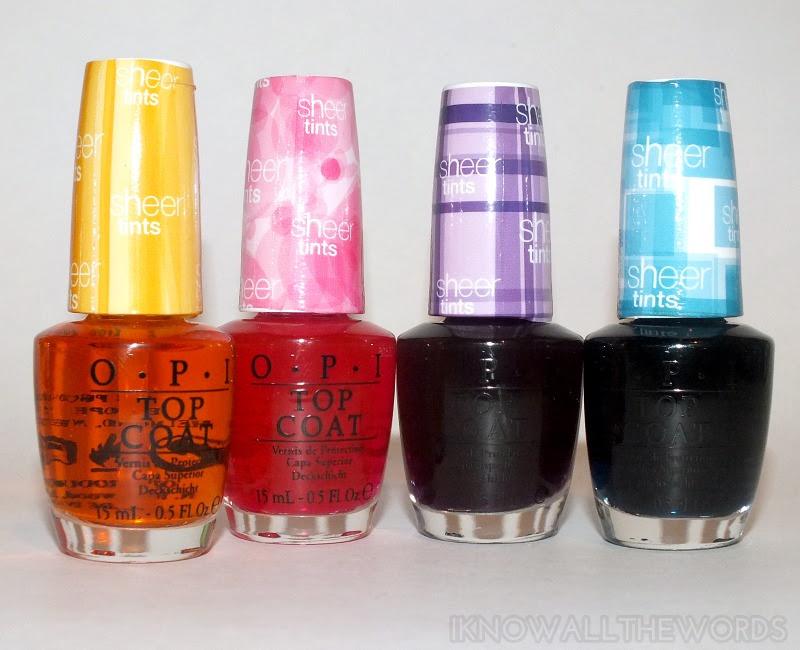 OPI Sheer Tints Amberassed, Magentale, Violet, and Teal (1)