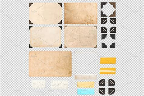 PNG Photo frame corners tape strips ~ Graphic Objects