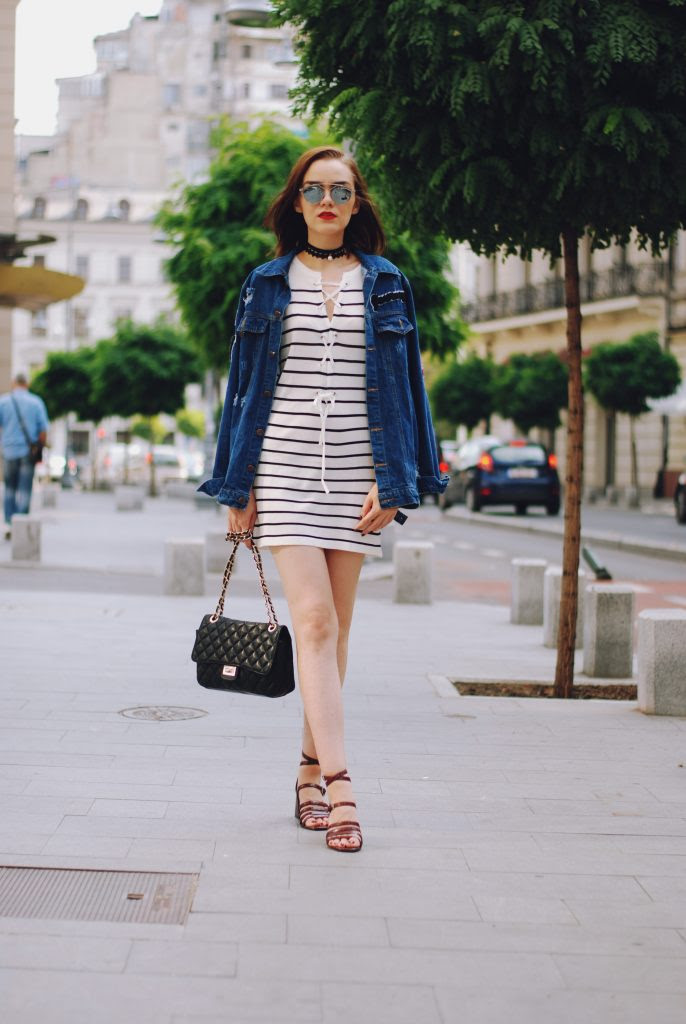 oversized denim jacket  striped dress outfit • couturezilla