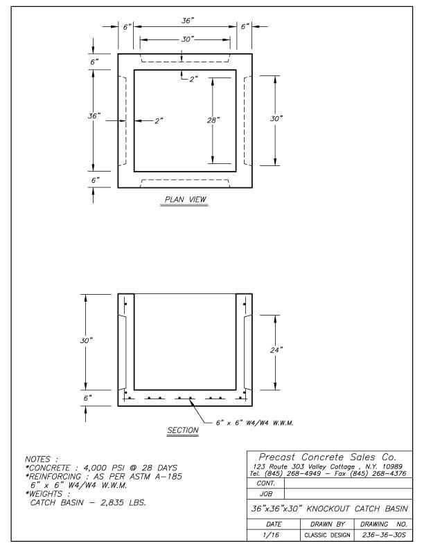 Catch Basins Precast Concrete Sales Company