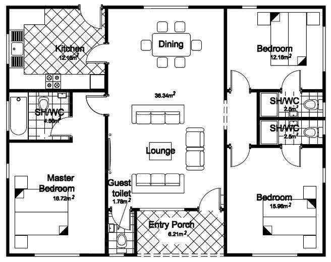 Elegant Floor Plan 3 Bedroom Bungalow House - New Home ...