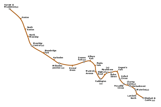 Geographically accurate path of the Bakerloo line