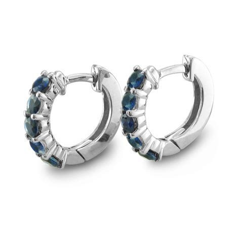 5 Stone Sapphire Earrings In 14k White Gold Hoops