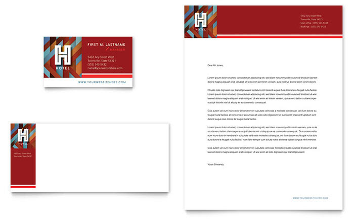 Hotel Business Card Letterhead Template Design