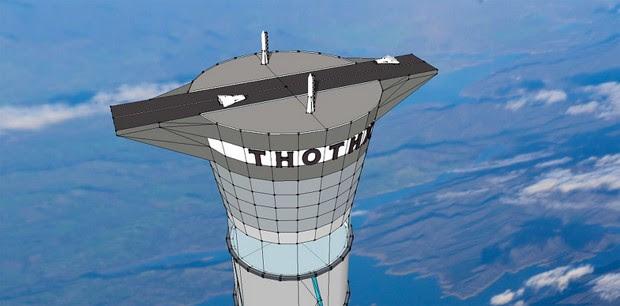 Torre espacial promete ser vinte vezes maior do que atual prédio mais alto do mundo (Foto: Divulgação Thoth Technology )