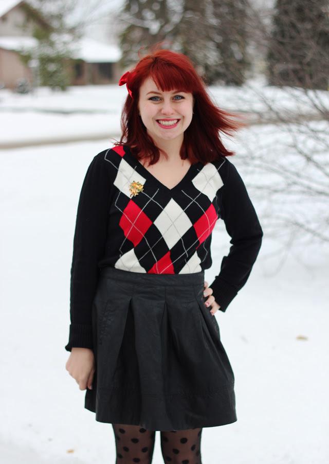 Argyle Sweater, Pleated Leather Skirt, Polka Dot Tights
