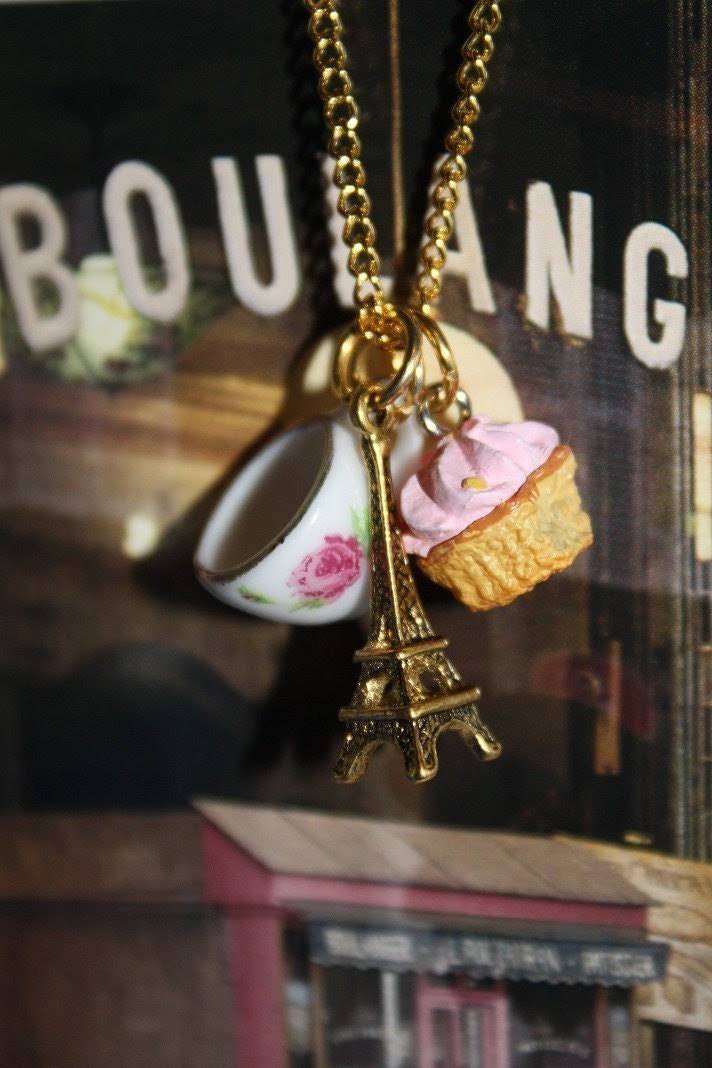 Tea and a Cupcake in Paris necklace