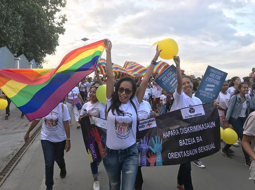 Participants in Timor-Leste's 2019 Gay Pride parade in Dili.