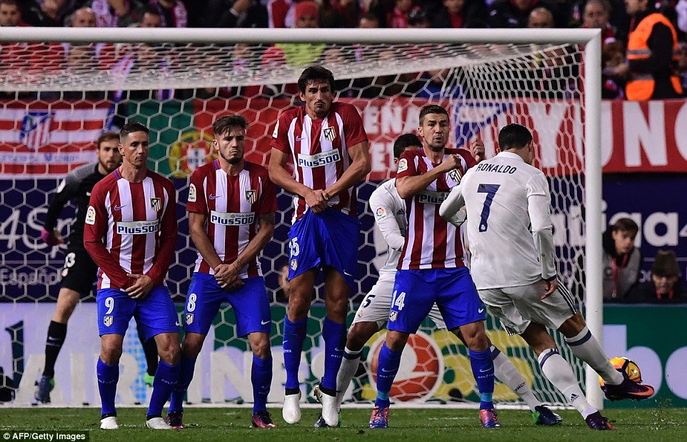 The Real Madrid star's free-kick cannoned off the defensive wall and wrong-footed Atletico goalkeeper Jan Oblak