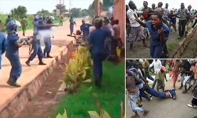 Burundi police officer shoots unarmed protesters at point-blank range with AK47