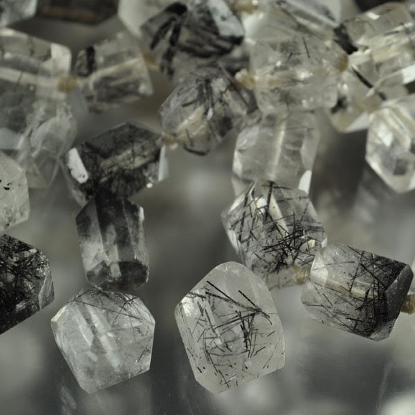 s33628 Stone Beads -  Faceted Hex Crystals - Tourmalinated Quartz (1)