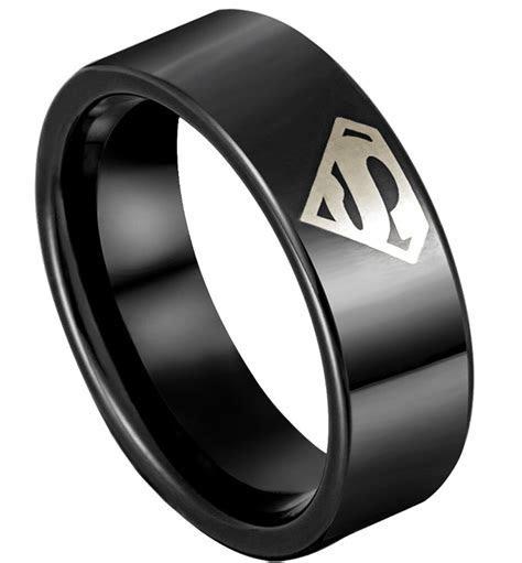 Superman 8mm Men's Tungsten Steel Ring Black Silver