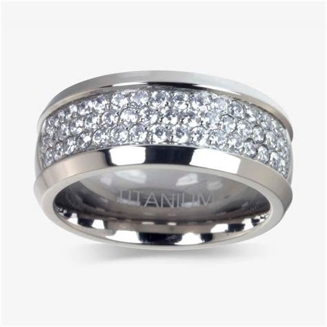 Men's Titanium DiamonFlash ® Cubic Zirconia Ring